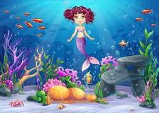 Beautiful brunette mermaid Stock Photography