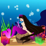 Beautiful brunette mermaid, coral and colorful reefs and algae. On sand. Vector illustration of sea landscape Stock Photography