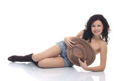 Beautiful brunette model with a cowboy hat Stock Photography