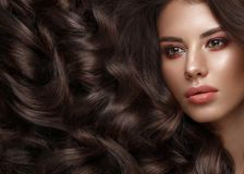 Beautiful brunette model: curls, classic makeup and full lips. The beauty face. royalty free stock image