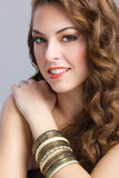 Beautiful brunette model with long hair portrait, make-up concep Stock Photo