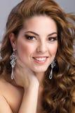 Beautiful brunette model portrait, purple make-up Royalty Free Stock Photography