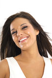 Beautiful brunette model smile vertical Stock Images
