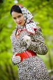 Beautiful brunette model in summer park Stock Photos