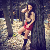 Beautiful brunette in nature Royalty Free Stock Photo