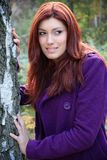 Beautiful brunette in nature. Beautiful brunette in a purple coat posing in a nature, fashion photography Royalty Free Stock Photography