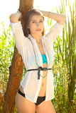 Beautiful brunette in a nature Stock Photos