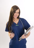 Beautiful Brunette Nurse Holds Patient Medical Chart Data Royalty Free Stock Photo