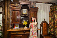 Beautiful brunette in an old house Royalty Free Stock Photo