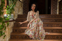 Beautiful brunette in an old house Royalty Free Stock Photos