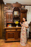 Beautiful brunette in an old house Royalty Free Stock Photography