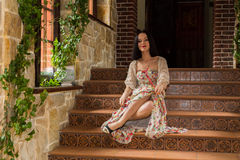 Beautiful brunette in an old house Royalty Free Stock Images