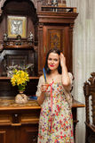Beautiful brunette in an old house Stock Photography