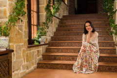 Beautiful brunette in an old house Royalty Free Stock Image
