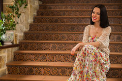 Beautiful brunette in an old house Stock Images