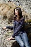 Beautiful brunette outdoor Stock Images
