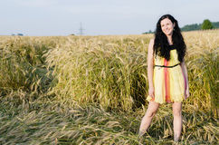 Beautiful brunette over summer rye field background. Beautiful  smiling brunette over summer rye field background Stock Images