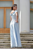 Beautiful brunette in pale blue evening dress Royalty Free Stock Photos