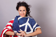 Beautiful Brunette Patriotic Woman