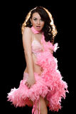 Beautiful brunette in pink dancing dress Royalty Free Stock Photography