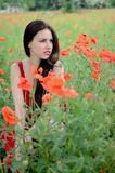 Beautiful brunette with poppies Stock Images