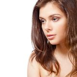 Beautiful brunette  portrait over white Royalty Free Stock Image