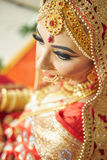 Beautiful brunette portrait with traditional costume. Indian style. Royalty Free Stock Photos
