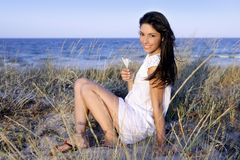 Beautiful brunette posing on the beach Stock Photos