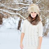 Beautiful brunette posing outdoors in winter Royalty Free Stock Photography