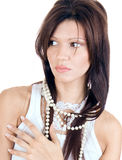 Beautiful brunette posing with perls Royalty Free Stock Photos