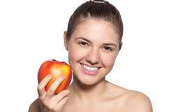 Beautiful  brunette with the red apple Stock Photos