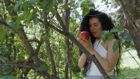 Beautiful brunette with red apple stand near the tree. Beautiful woman in dress holds red apple in hands and posing for camera. Charming brunette enjoys a fruit stock video