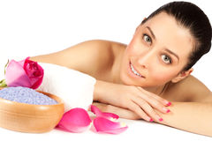 Beautiful woman is relaxing in the spa. isolated Royalty Free Stock Photos