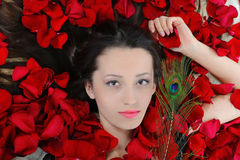 Beautiful brunette in rose petals Royalty Free Stock Photography