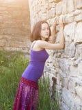 Beautiful brunette with a sad face. Stock Photos