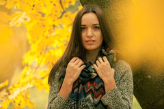 Beautiful brunette in scarf in autumn day. Shoot through yellow leaves. Lonely woman enjoying nature landscape in autumn. Autumn d Royalty Free Stock Images