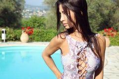 Beautiful brunette in sexy bikini Stock Photography