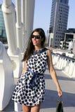 Beautiful brunette shopaholic outdoor city Royalty Free Stock Photos