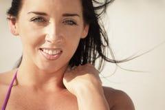 Beautiful brunette smiling Stock Photo