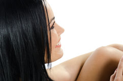 Beautiful brunette smiling side view Stock Photos