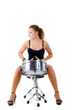 Beautiful brunette and snare drum. Series. The beautiful brunette and snare drum it is isolated on a white background stock images