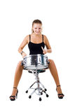 Beautiful brunette and snare drum. Series. The beautiful brunette and snare drum it is isolated on a white background royalty free stock image
