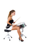 Beautiful brunette and snare drum Royalty Free Stock Photography