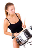 Beautiful brunette and snare drum. Series. The beautiful brunette and snare drum it is isolated on a white background royalty free stock photos