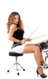 Beautiful brunette and snare drum Royalty Free Stock Images