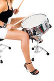 Beautiful brunette and snare drum Stock Image
