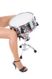 Beautiful brunette and snare drum. Series. The beautiful brunette and snare drum it is isolated on a white background stock photography