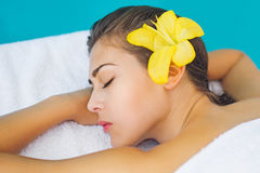 Beautiful brunette at spa treatment royalty free stock images