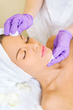 Beautiful brunette at spa treatment Stock Photography