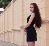Beautiful brunette stands half-turned on the historic street Stock Photography